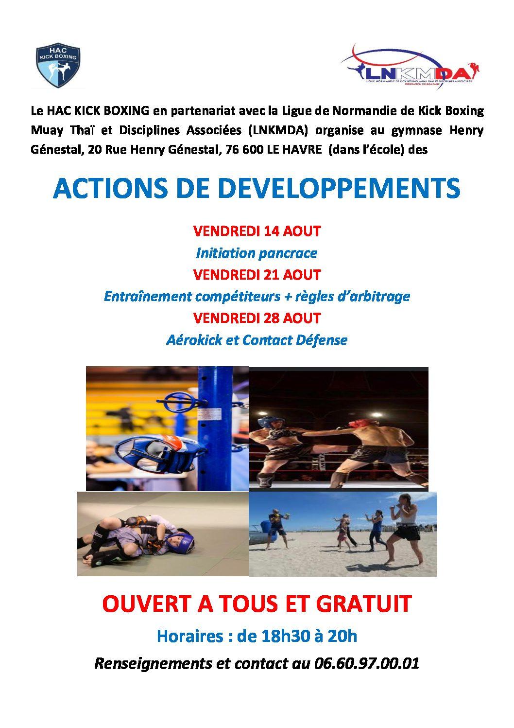 Actions de développement organisées en août par le HAC Kick Boxing en partenariat avec la LNKMDA
