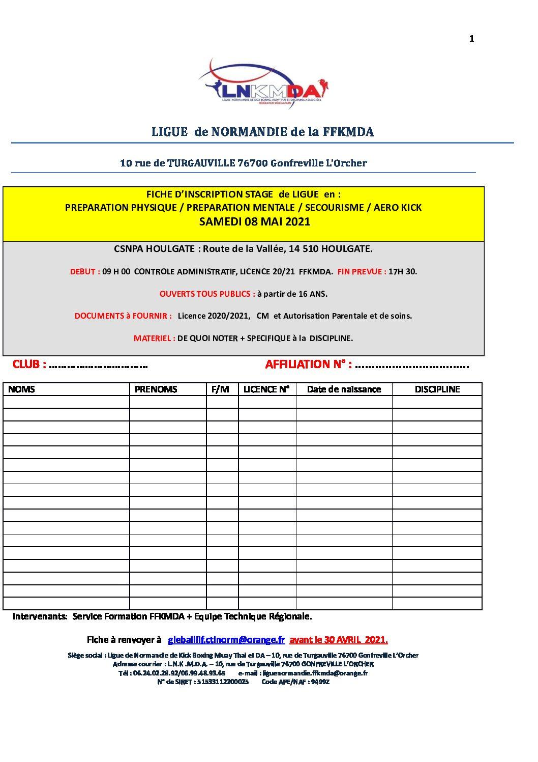 Stage gratuit de préparation physique, aérokick, secourisme, samedi 8 mai à Houlgate